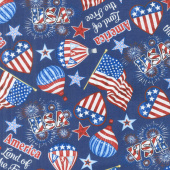 America Home of the Brave - Tossed Flag Icons Navy Yardage