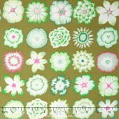 Kaffe Collective - Pastel Button Flowers Green Yardage