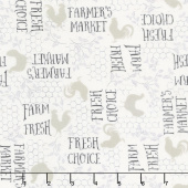 Free Range Fresh - Words Cream Yardage