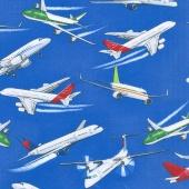 Novelty - Commercial Planes Blue Yardage