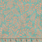 Lilac & Sage - Leaves Teal Copper Pearl Metallic Yardage