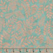 Lilac & Sage - Leaves Teal Copper Pearl Metallic Yardage