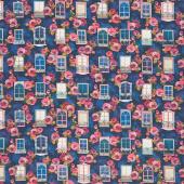 Happy Place - Windows Flowers Night Digitally Printed Yardage