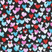 Big Love - Small Hearts Black/Pink Yardage