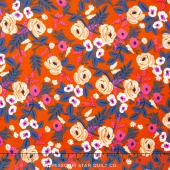 Wonderland - Painted Roses Orange Rayon Yardage