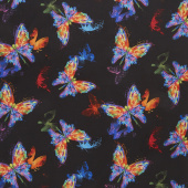 Awaken - Watercolor Butterfly Black Yardage