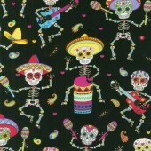 Day of the Dead - Dancing Day Of The Dead Bright Yardage