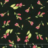 Paradise - Floral Buds Black Yardage
