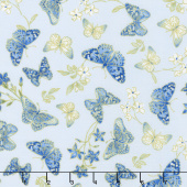 Blue Symphony - Butterfly Blue Metallic Yardage