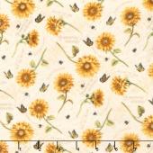 Follow the Sun - Tossed Sunflowers Cream Yardage