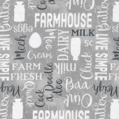 Homestead - Words Allover Gray Yardage