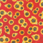 Country Road Market - Sunflower Toss Red Yardage