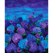 Misty - Hydrangea Midnight Digitally Printed Panel