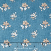Hamilton - From Eliza Hamilton's Era c. 1770-1790 Spaced Flower Blue Yardage