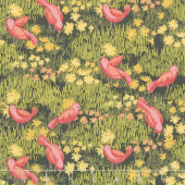 Dandi-Annie - Little Birds Charcoal Yardage
