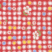 Feed Sacks: Red Rover - Bubbles & Blooms Ruby Yardage