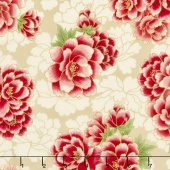 Imperial Collection 13 - Black Large Peonies Red Metallic Yardage