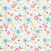 Flutter and Shine - Floral White Yardage