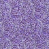 Cat-i-tude - Singing the Blues Feather Frolic Purple Pearlized Yardage