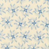 Mood in Blue - Twirling Vine Cream Yardage