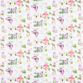 Scented Garden - Stamps Light Gray Digitally Printed Yardage