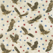 Stonehenge Stars and Stripes VII - Eagle Toss Beige Yardage