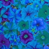 Kaffe Collective - Peacock Passion Petunias Blue Yardage