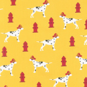 Fire Pups - Dalmations Yellow Yardage
