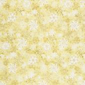 Stonehenge White Christmas - Snowflakes Gold Metallic Yardage