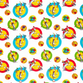 Seuss Chef - Cat in the Hat Dots White Yardage