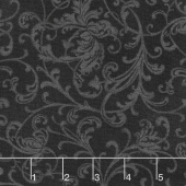 Poinsettia & Pine - Elegant Scrolls Black Yardage