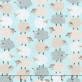 Sweet Dreams - Sweet Stacked Sheep Aqua Yardage