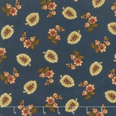 Buttermilk Blossoms - Leaf & Spray Toss Navy Yardage