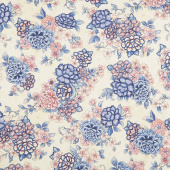 Calista - Flowers Cream Pearlized Yardage