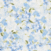Blue Symphony - Floral Cream Metallic Yardage