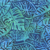 Artisan Batiks - Totally Tropical Leaves Ocean Yardage