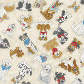 Home is Where the Dog Is! - Dog Allover Cream Yardage