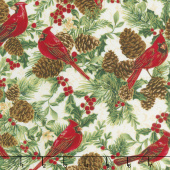 A Joyful Season - Cardinals And Pinecones White Metallic Yardage