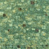 Gustav Klimt - Squares Green Metallic Yardage