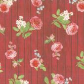Farmhouse Rose - Wood Red Yardage