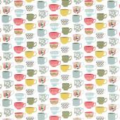 Tea with Bea - Tea Cups White Yardage