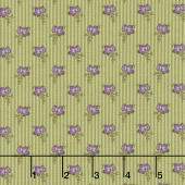 Mill Creek Garden - Wallpaper Stripe Flowers Green Yardage