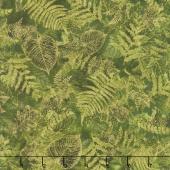 Bountiful - Leaves Green Metallic Yardage