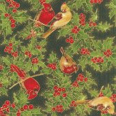 Cardinal Song Metallic - Cardinals Ebony Yardage