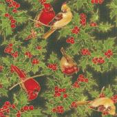 Cardinal Song Metallic - Cardinals Ebony Yardage