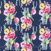 Fruitful Pleasures - Floral Navy Yardage