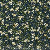 Bluebird Gathering - Allover Flowers Navy/White Yardage