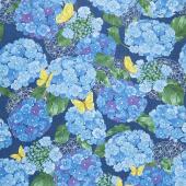 Cottage Bleu - Hydrangeas Midnight Yardage