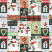 Snow Place Like Home - Snowman Patchwork Multi Yardage