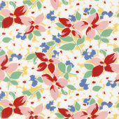 Hi - de - Ho! - Large Floral Yellow/Red Yardage